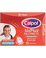 Calpol Six Plus Fast Melts Strawberry Flavour pack of 12 Tablets