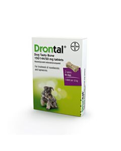 Drontal Flavour Plus Bone Shaped Worming Tablet for Dogs - 2 Tablets
