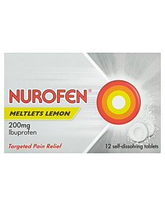 Nurofen Meltlets Lemon 200mg - 12 self-dissolving tablets
