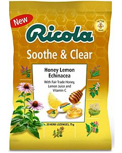 Ricola Soothe and Clear Honey Lemon and Echinacea Lozenges - 75g Bag