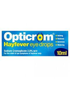 Opticrom Hayfever Eye Drops (Sodium Cromoglicate 2%) - 10ml