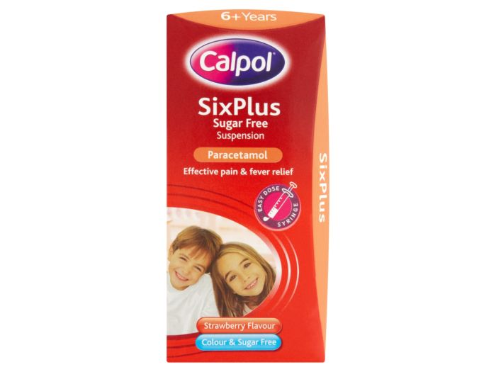 Calpol Six Plus Sugar & Colour-Free Suspension Strawberry - 100ml