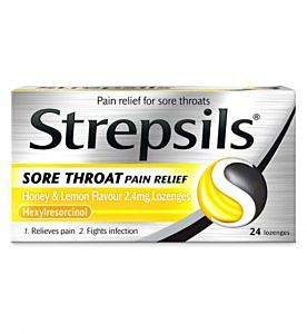 Strepsils Sore Throat Pain Relief Honey & Lemon Lozenges - 24 Pack