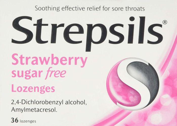 Strepsils Strawberry Sugar Free Lozenges - 36 Pack