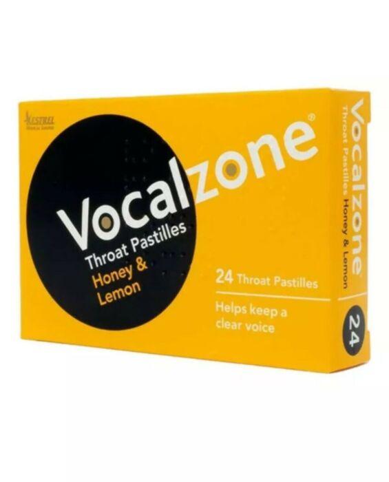 Vocalzone Throat Pastiles - Honey & Lemon - 24 Pastilles